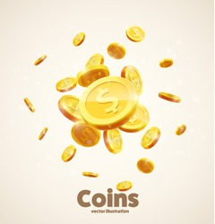 gold coins falling 3d realistic vector coin icon with shadows isolated on white eps 10