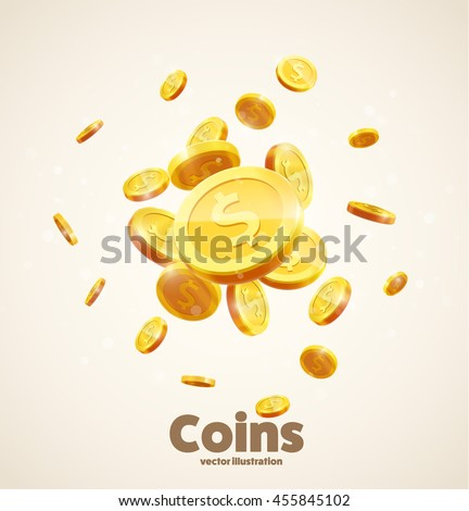 gold coins falling 3d realistic