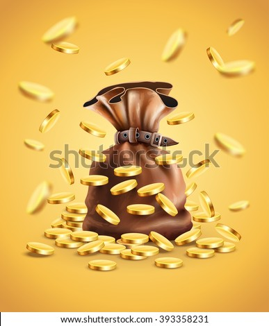 Gold coins falling down and full sack vector illustration. Gradient mesh used. Transparent objects used for lights shadows drawing