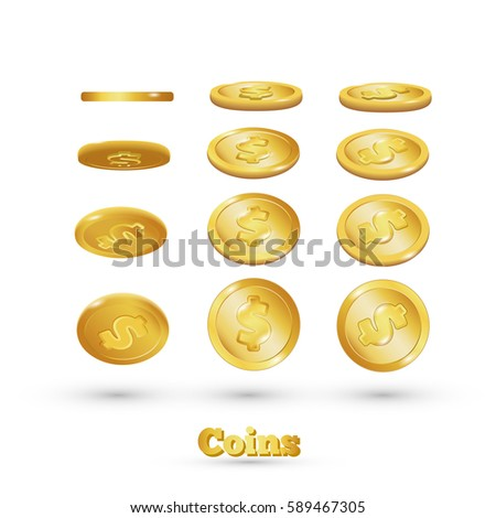 Gold coins falling, isolated on white in different positions. eps 10