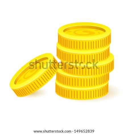 Gold coins. Illustration on white background for design