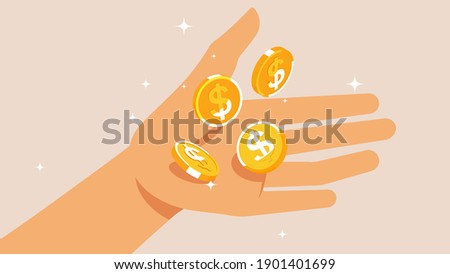 Gold coins in hand. Falling coins with the dollar sign. Open hand. The concept of profit, easy money, dividends, payouts, winnings. Vector illustration. Foto stock ©