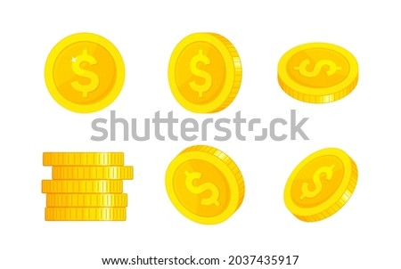 Gold coins on white background. Set of money icons with rotation. Cash dollar currency. Realistic dollar gold coin. Profit money, investment and financial savings. Realistic golden ducat. Vector coins Photo stock ©
