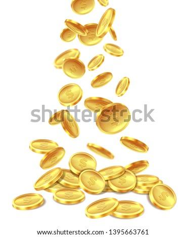 Gold coins pile. Golden coin money heap cash wealth, flying metal dollars treasure piles. Casino jackpot win bonus, richness vector image
