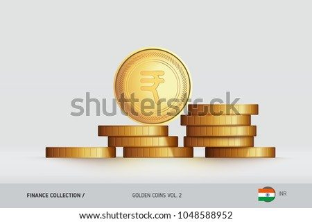 Gold coins. Realistic Indian Rupee coin standing on stacked coins. Finance concept for websites, web design, mobile app, infographics.
