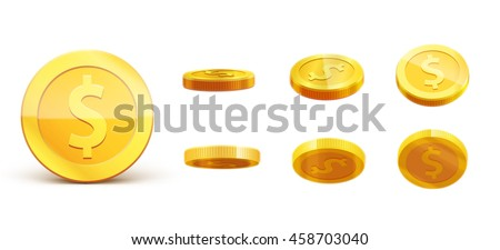 gold coins set isolated on