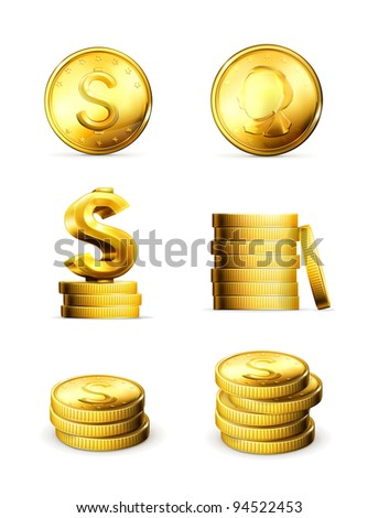 Gold Coins, vector set