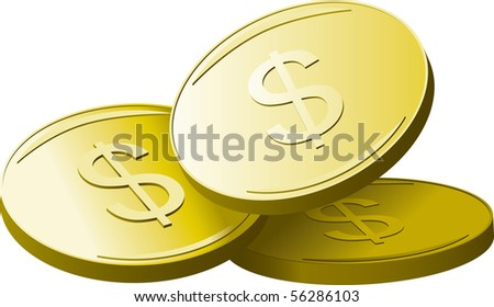 Gold coins with dollar sign. Vector illustration