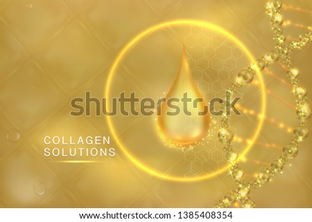 Gold Collagen Serum drop, cosmetic advertising background ready to use, luxury skin care ad, vector illustration.