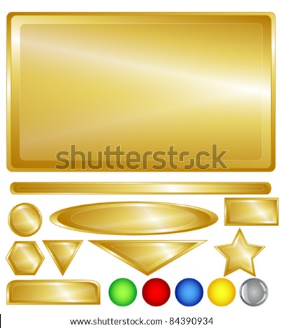 Gold color web background, bars, buttons and shapes with fun red, green, blue, yellow and one grey glossy buttons for added variability.