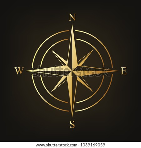 gold compass icon vector