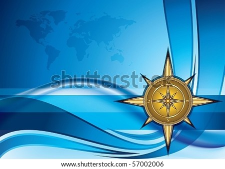Gold compass on blue background with world map, eps10 vector illustration