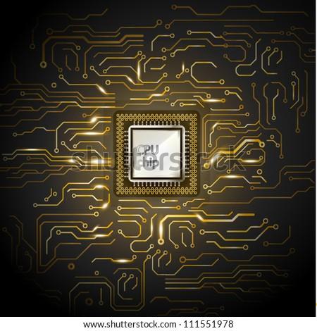Gold computer microcircuit. Illustration on black background for design