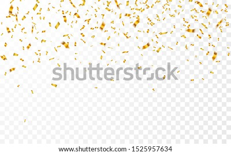 Gold confetti. Celebration carnival falling shiny glitter confetti in gold color. Luxury greeting card. Vector illustration.