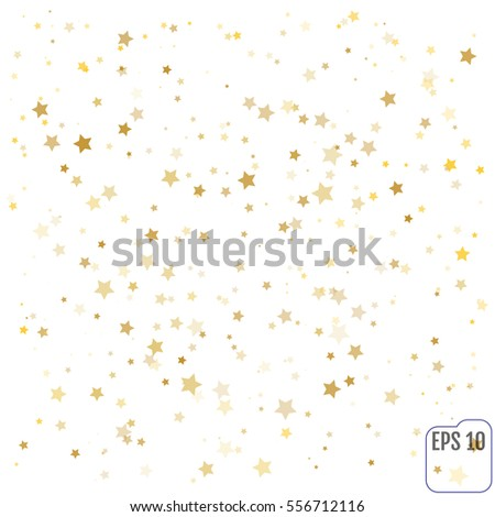Gold Confetti celebration, Falling golden abstract decoration for party, birthday celebrate, anniversary or event, festive. Festival decor. Vector illustration