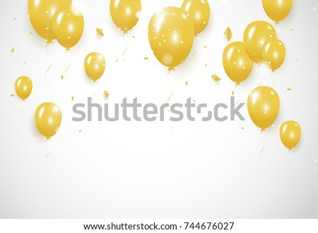 Gold confetti celebration party banner with Gold balloons background. Vector illustration