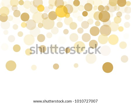 Gold confetti circle decoration for christmas or birthday card background, holiday vector illustration. Gold color round confetti dots on white background, circles scatter, trendy rich bokeh isolated.