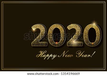 Gold confetti 2020 New Year card. Vector illustration.