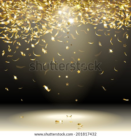 gold confetti on a dark background