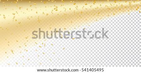 gold confetti on white