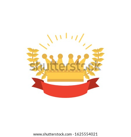 Gold crown design, Royal king queen luxury jewelry kingdom insignia emperor authority and coronation theme Vector illustration