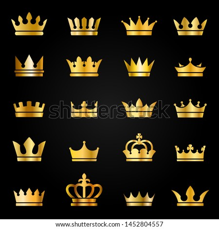Gold crown icons. Queen king golden crowns luxury royal on blackboard, crowning tiara heraldic winner award jewel vector set for quality label
