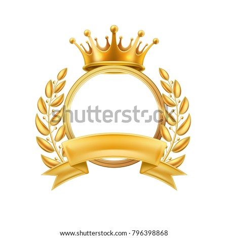 Gold crown laurel wreath winner frame. Vector first place, champion sign with golden ribbon with circle. Royal luxury vip vintage ornament, avatar icon. Realistic detailed illustration isolated