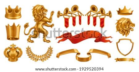 Gold crown of the king. Laurel wreath, fanfare, lion ribbon. 3d vector realistic set Сток-фото ©