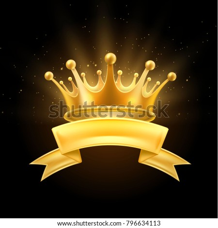 Gold crown ribbon shiny winner, king or queen symbol. Vector first place, champion sign. Royal luxury vip vintage ornament, social network avatar icon. Realistic detailed illustration black background