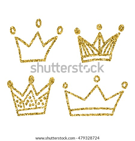 gold crown set isolated on