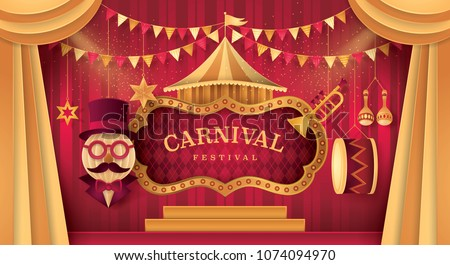 Gold Curtains stage with Circus Frame Border, Triangle bunting flags and Hanging Circus Barker with Hat,Glasses and Mustache, Carnival trumpet, Mexican maracas, Drum, Paper art vector and illustration stock photo