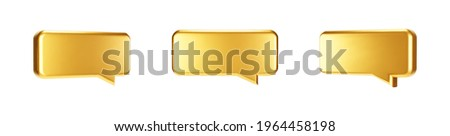 Gold 3d bubble talk set isolated on white background. Glossy golden metallic speech bubble, dialogue, messenger shape. 3D render vector shiny icon for social media or website