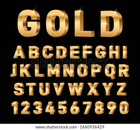 Gold 3d font. Glossy rich alphabet, trendy metal expensive typography elements. Luxury exclusive letters and numbers. Golden text vector set