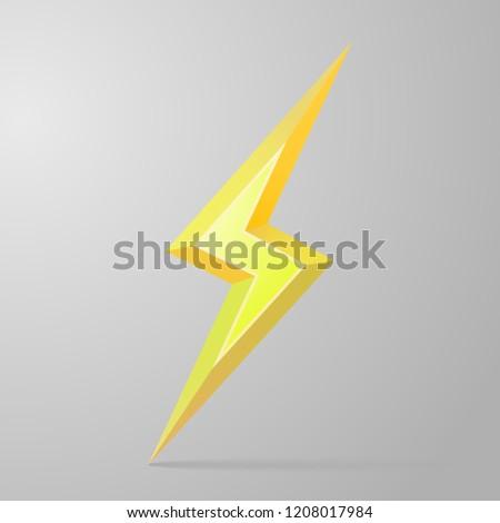 Gold 3D lightning. Lightning logo. Vector illustration of lightning with shadow, isolated on gray background with light from upper left corner.