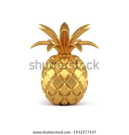 Gold 3d pineapple vector illustration. Exotic fruit molded from yellow precious metal with curved leaves ornaments. Premium product for awarding winners and expensive glitter decorations. Photo stock ©