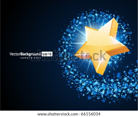 Gold 3d star vector background