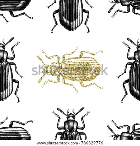 stock-vector-gold-darkling-beetle-background-seamless-pattern-with-hand-drawn-bugs-vector-insects