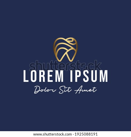 Gold dental logo design premium