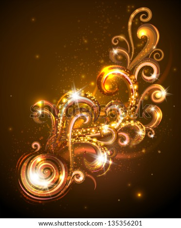 Gold design element with swirls Vector illustration