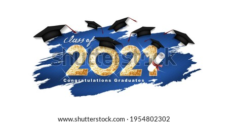Gold design for graduation. Class of 2021. Congratulation event, T-shirt, party, high school or college graduate. Lettering for greeting, invitation card  invitation etc. Vector illustration