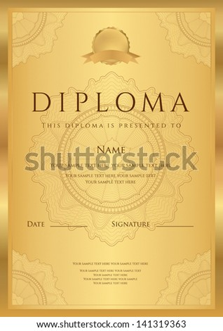 Gold Diploma of completion template or sample blank background with guilloche pattern watermark borders Design for Certificate invitation gift voucher official ticket award winner Vector