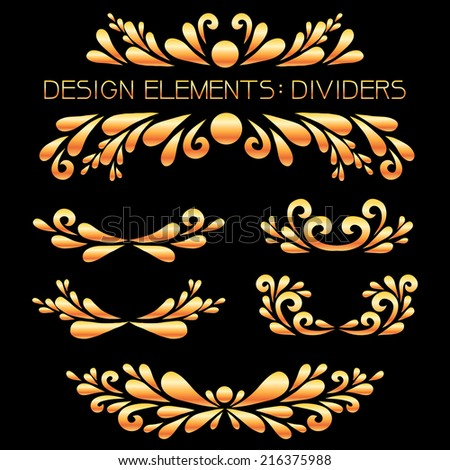 Gold dividers set. Vector floral decoration made from simple shapes. Decoration for card, invitation, banner or other.