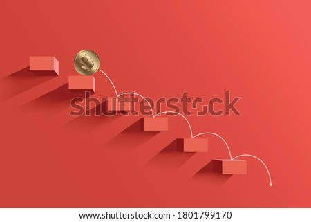 Gold dollar coin falling down the steps on a red background. The arrow points down. The concept of the global economic crisis. Poster for the financial fall in the world. Vector. Default banner ストックフォト ©