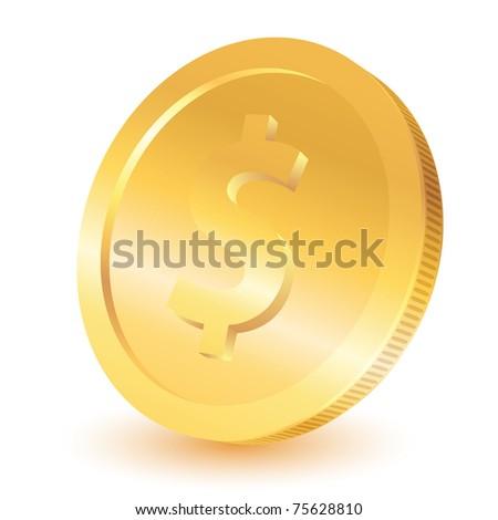 Gold dollar coin. Vector illustration