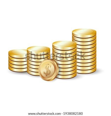 gold dollar coins in vector Stock photo ©
