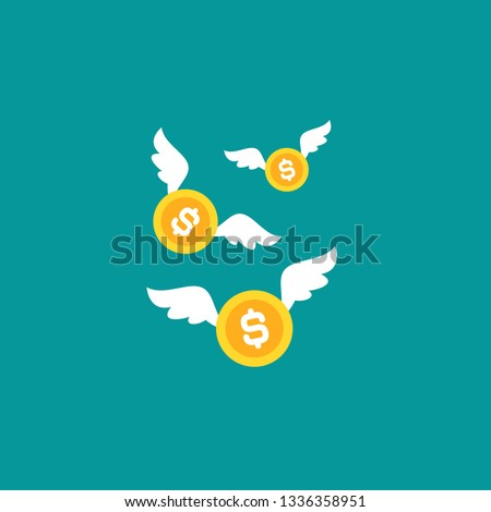 Gold dollar coins with white wings. Flat  blue background. Flying money. Economy, finance, money pictogram. Wealth symbol.  Vector illustration. Free, easy.  Spend, expenses   Stock photo ©