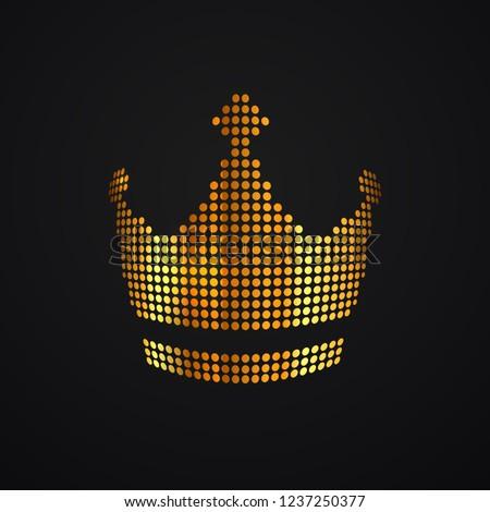 Stock Photo Gold dots crown vector isolated logo. Pixel art logotype diadema, corona on dark background