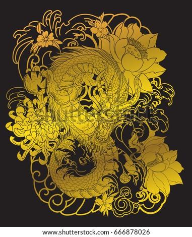 gold dragon tattoo on black