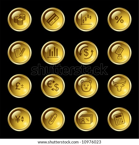 Gold drop finance icons