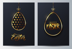 Gold easter eggs. Caed of golden egg with dot patterns and lettering on a dark background for design for cards, posters, invitations for Easter
